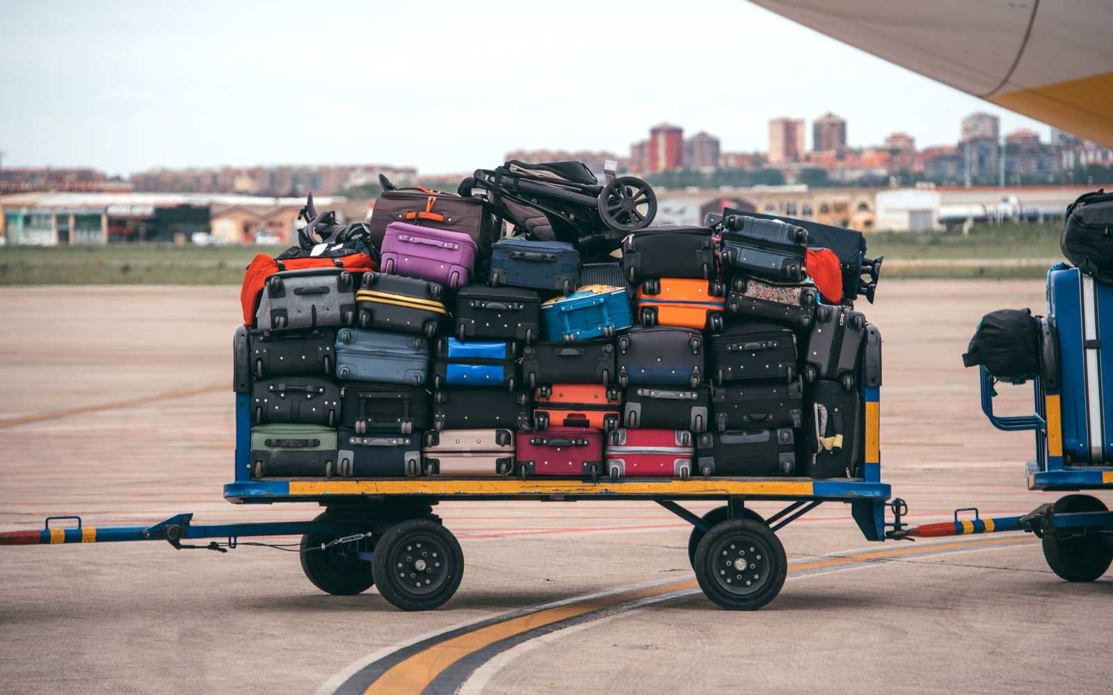 Cart with luggage at an airport